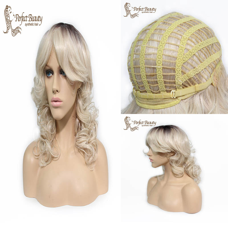 Good Quality beauty Heat Resistant Synthetic Body Wave Ombre Two Tone blonde Hair Wigs Free Shipping<br><br>Aliexpress
