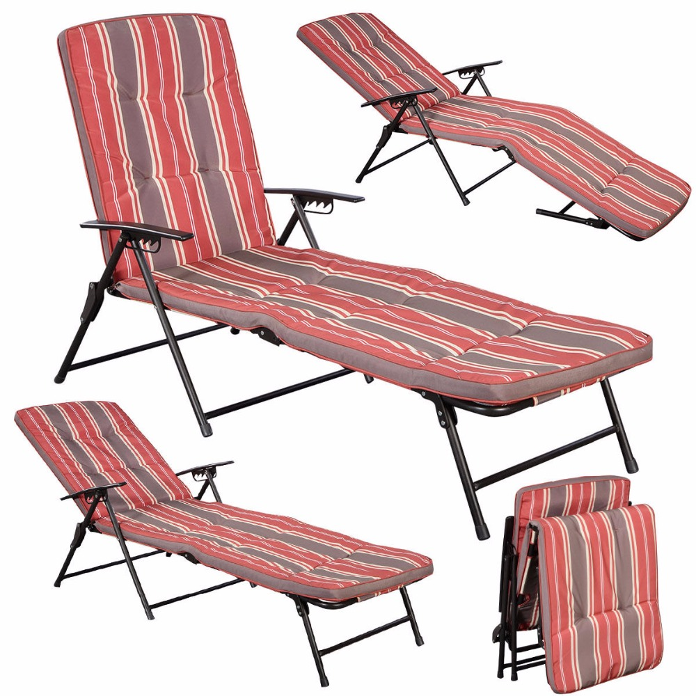Red White Stripe Folding Lounger Patio Outdoor Chaise Cushions Pool Side Recline Free Shipping HW51794(China (Mainland))