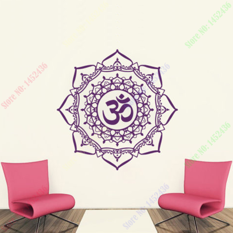 2016 New Wall Decals Mandala Yoga OM Symbol Indian Decal Vinyl Sticker Home Decor 22inX22in