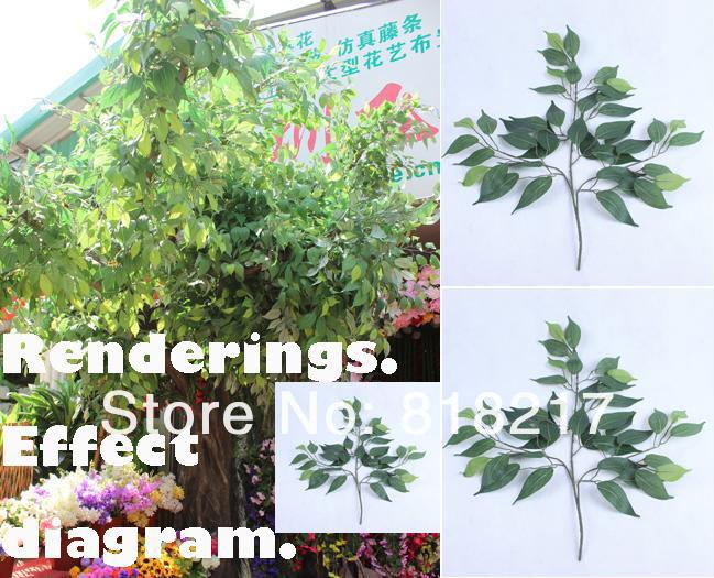 12 tallos de rboles banyan plantas hoja artificial ramas for Plantas decorativas hojas