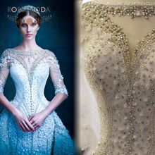 Real Photos Luxury Half Sleeves Heavily Crystal Beaded Arabic Wedding Dress with 3M Royal Train Full 3D Flowers Illusion Back(China (Mainland))