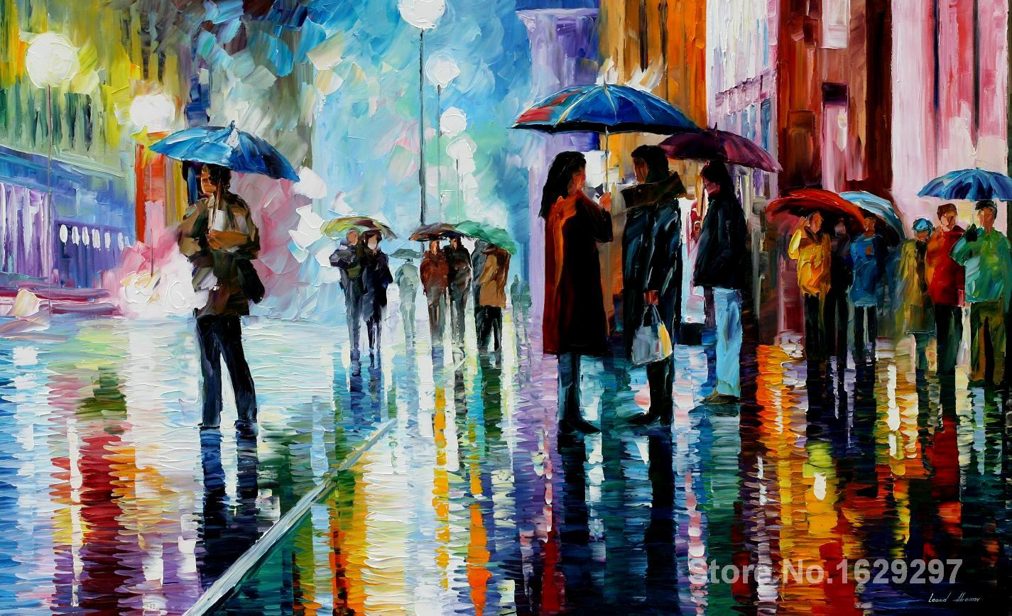 Beautiful painting Landscape,bus stop under the rain-Leonid Afremov,hand-painted,High quality(China (Mainland))