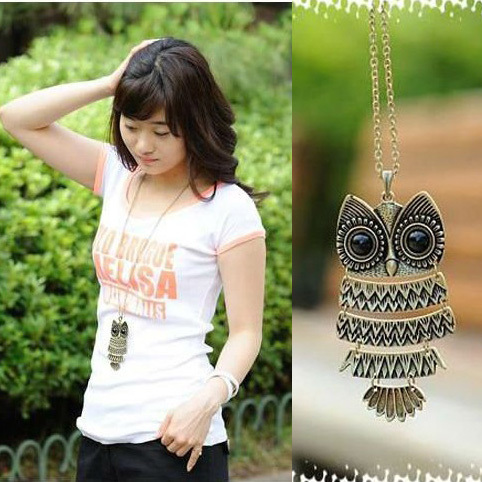 product Fashion Korea Adorn <font><b>Article</b></font> Vintage Long Colar Sweater Owl Pendant Necklaces Bronze and Silver Color Wholesale 12pcs/Lot D15R1C