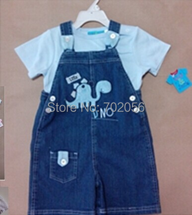 2 pcs set Baby tops t-shirts denim Childrens Suspender Thouser overalls 12sets/lot#3687<br><br>Aliexpress