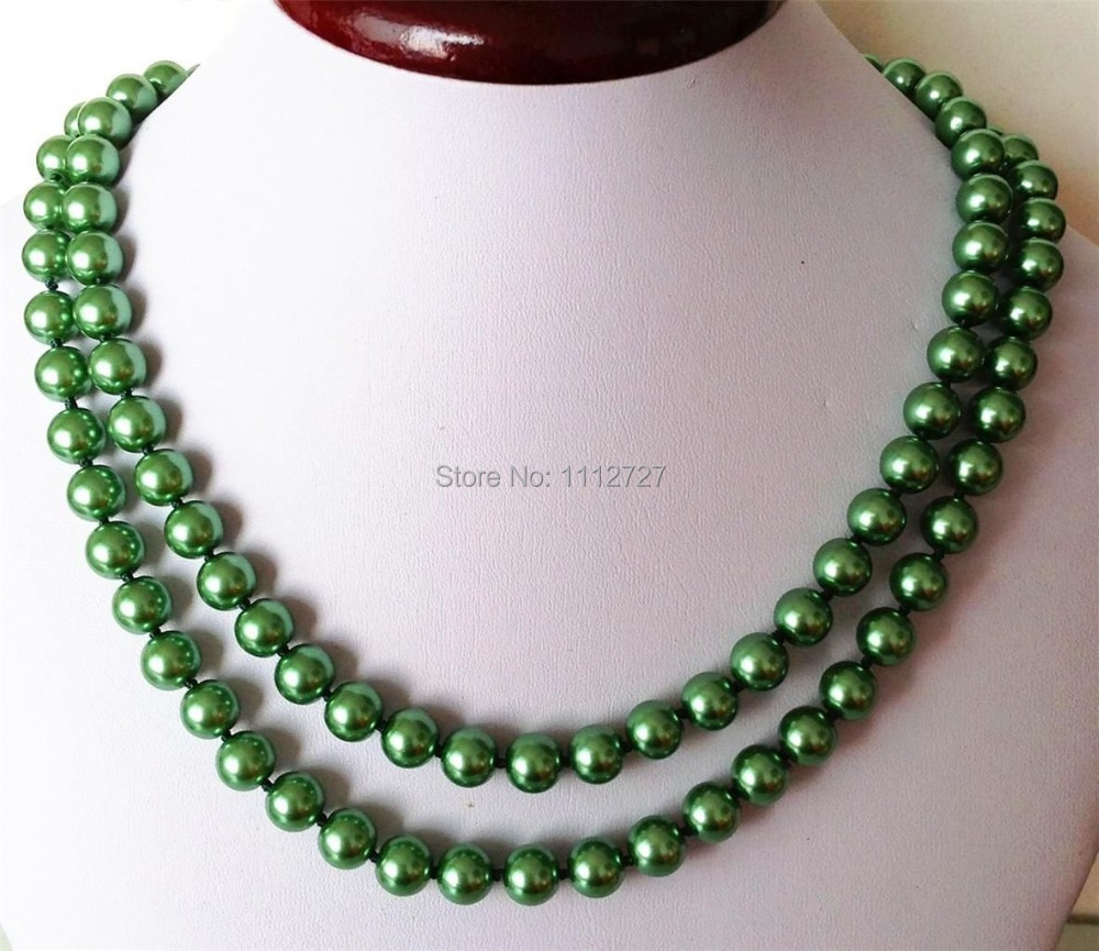 HOT! Fashion 8mm Green Ocean Shell Pearls Necklace Beads Jewelry Natural Stone 36 INCH Wolesale Price(China (Mainland))