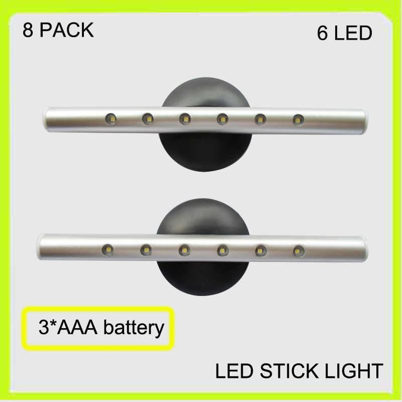 New 2 PACK 6 LED cabinet light led work lamp book lamp LED wardrobe light aluminum show case 25LM 3*AAA battery silver<br><br>Aliexpress