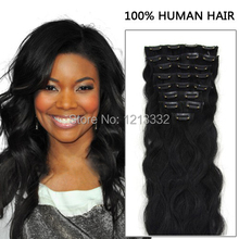 Hot Sale Hair Products 7pcs/set Brazilian Body Wavy Clip In Human Hair Extensions (Jet Black) 16''-26'' In Stock Real Pictures(China (Mainland))