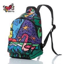 ROMERO BRITTO 2016 Hot Sale College Wind Graffiti Backpack Satin Backpacks Travel Bags Rucksack School bag Free Shipping(China (Mainland))
