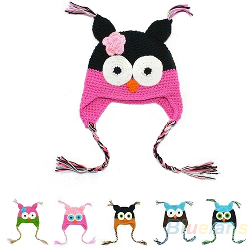 Multicolor Infant Toddler Handmade Knitted Crochet Baby Hat owl hat Cap with ear flap Animal Style For Girl Boy Gift 054M(China (Mainland))