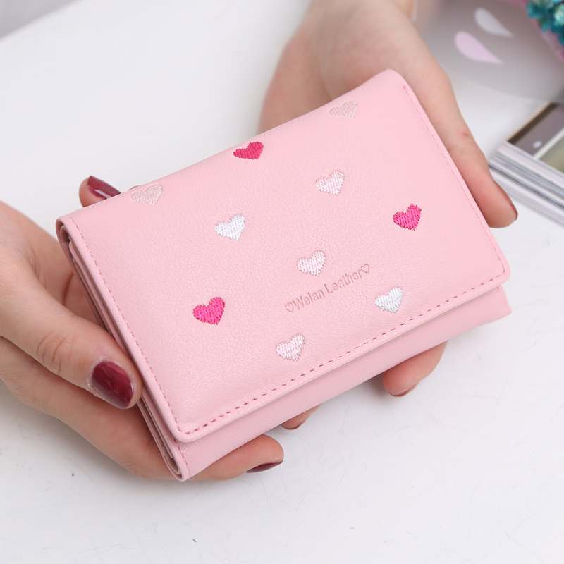 Women Short Wallet Lovely embroidery heart Pattern Soft Leather Materials Small Purse Candy Fresh colorful bag Valentines Gift(China (Mainland))