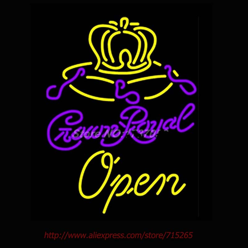 Crown Royal Open Neon Sign Handcrafted Neon Bulbs Real GlassTube Club Decorate hotel Store Display Fast ship Garage sign 30x24(China (Mainland))