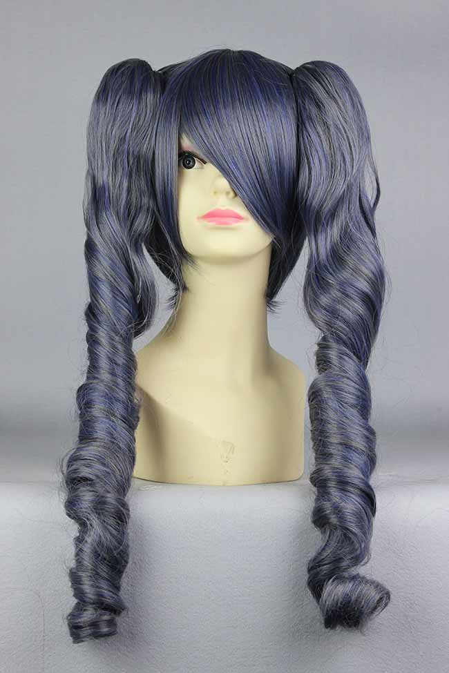 "MCOSER Black Butler Ciel Phantomhive Girl Light Black 22"" Cosplay Wigs With Two Ponytail Japan Natural Synthetic Cosplay Wigs(China (Mainland))"