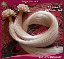 6A 2015new sales human hair keratin u tip hair extensions human mega hair cabelo natural #60 Platinum Blonde 1g/stocks 100g/pack(China (Mainland))