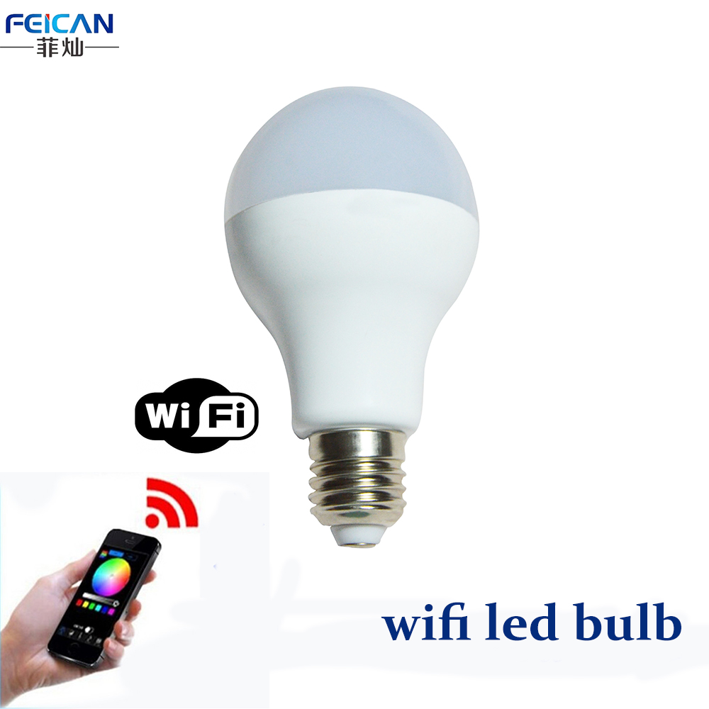 AC85-240V 3W 7W 9W RGBW WIFI LED Bulb Light Colorful Dimmable LED Light Support IOS/Android APP Control E27 E26 B22 LED Lamp(China (Mainland))