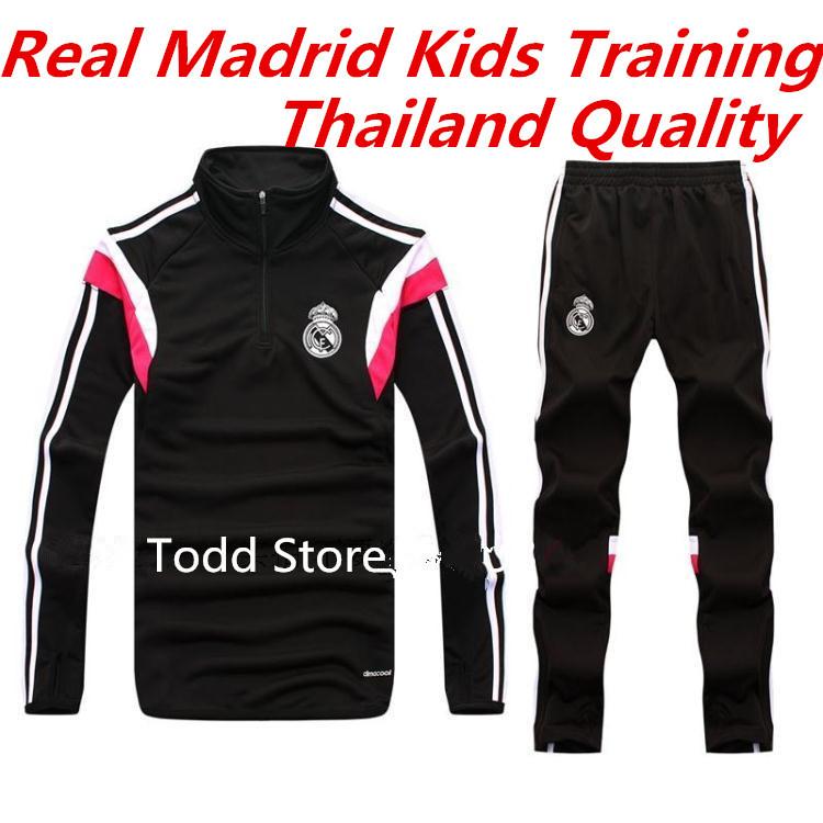 Equipacion Real Madrid 2015 Kids TopA+++Thai Quality Real Madrid Kids Tracksuit Child Training Pants Survetement Football Enfant(China (Mainland))