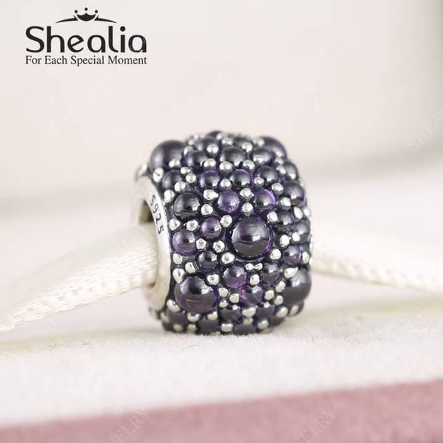 2016 новых весенняя коллекция мерцающий капли необычные фиолетовый Cz подвески стерлингового серебра 925 ювелирных украшений Fit бусины браслеты DIY