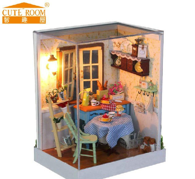 Free Shipping Kids Novelty Assembly Miniature Dollhouse DIY Sweety Pastoral House With LED Lamps Glass House Toys<br><br>Aliexpress