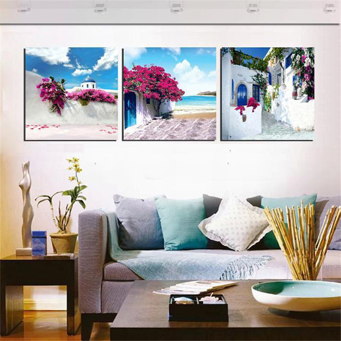 Canvas Painting Set Greece Santorini Island Scenery Paintings Beautiful Landscape Wall Art Pictures Printed On Canvas Unframed(China (Mainland))