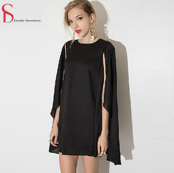 XS-XXL Plus Size 2015 summer new commuter simple loose cloak type invisible zipper sun dress shawl women's Casual Dresses #DS09(China (Mainland))