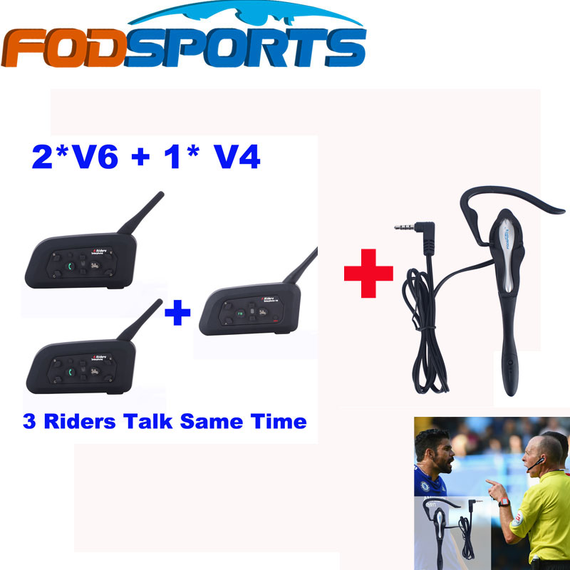 Fodsports Brand V4+2*V6 1200m BT Headset Wireless Intercom with Earhook Earphone for 3 Football Referee Talking at the Same Time(China (Mainland))