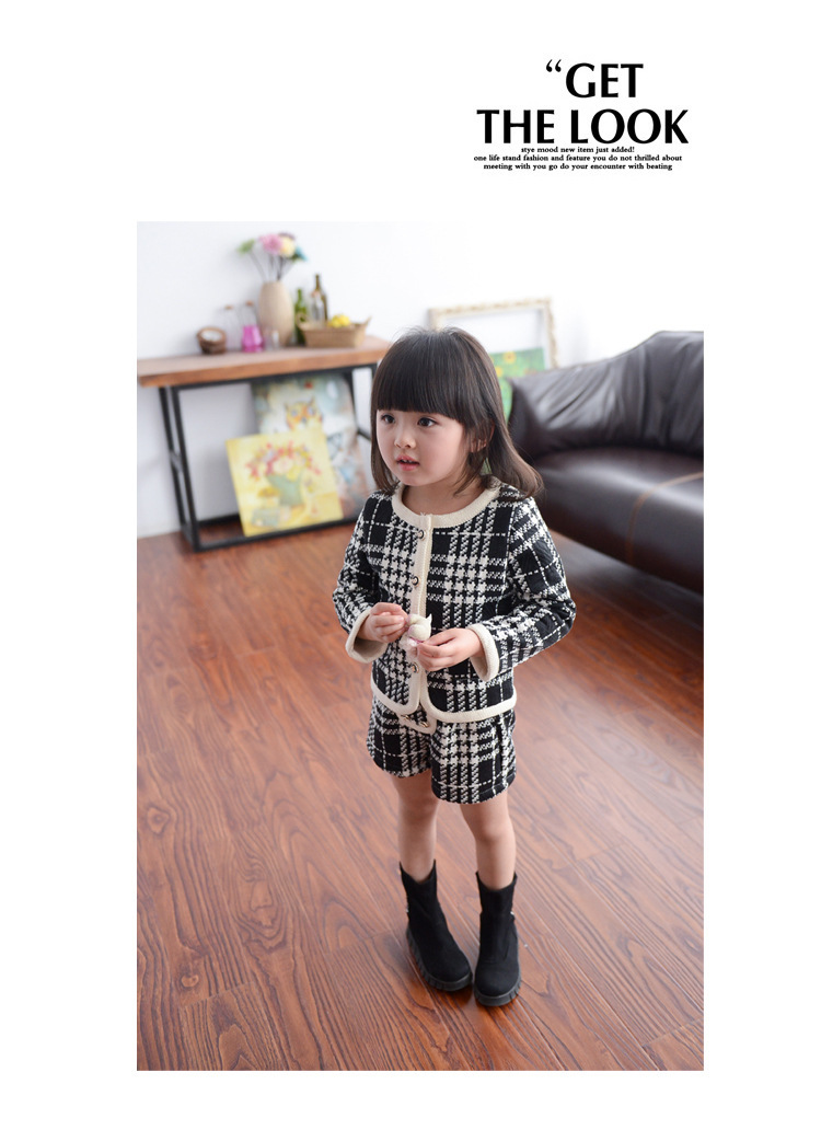 Children Wear A Undertakes 2015 Autumn Girl Plover Case Cardigan And Shorts 2 Piece Suit Long-Sleeved Coat a026(China (Mainland))