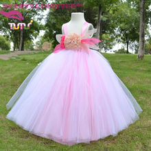 Handmade crochet abito rosa e bianco fluffy tulle tutu promenade del partito fiore ragazza abiti(China (Mainland))
