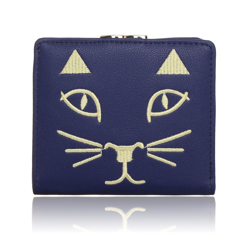 New Women Lovely Cat Pattern Coin Case Wallet PU Leather Cute Short Purse Lady Mini Hasp Cards Holder Embroidery Girls 3 Folds(China (Mainland))