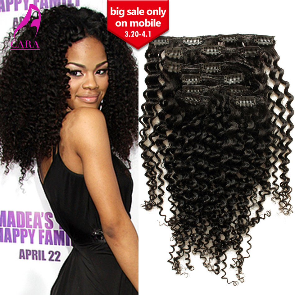 5A Grade Peruvian virgin hair kinky curly clip in human hair extensions 12-26 available 7PCS 120G Human hair weaves top sale<br><br>Aliexpress