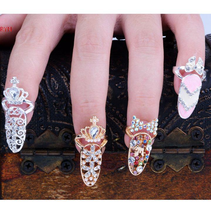Fashion Bowknot Crystal Finger Nail Art Ring Jewelry Fake Nail Art Finger Rings Beauty / Nail Sticker / Cnd /Christmas(China (Mainland))