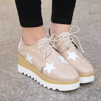 2016 Hot Sale Stars Womens Flats Round Toe Patent Leather Platform Shoes Oxford Lace up Derby Shoes Size 35-39 Brogue Shoes PX69<br><br>Aliexpress