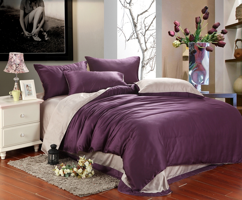 Luxury Purple Bedding Comforter Set King Queen Size Duvet Cover Bedspread Bed