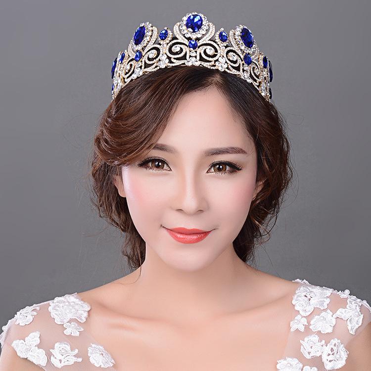 New Luxury Blue Crystal Princess Wedding Tiara Crown Rhinestone Bridal Hair Jewelry Accessories