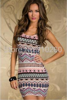 1pcs 2015 new Summer Casual Women Evening Party Sleeveless Striped Flexible Dress Freeshipping&Wholesale plus size dress