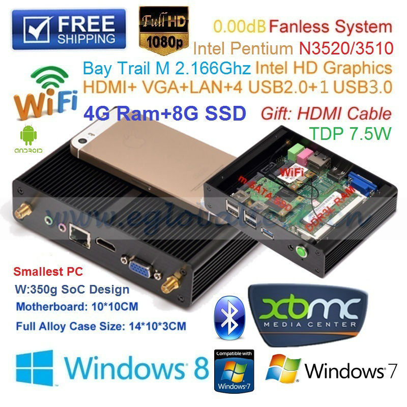 Мини ПК Eglobal/OEM Windows 7/8 Android XBMC Intel Pentium N3510 4G 8G SSD HTPC V7-N3510 мини пк oem 2 32 8 1 os intel 1 33 windows intel hd gpu bluetooth