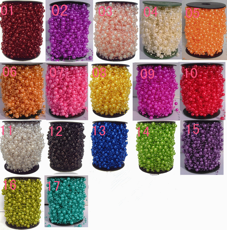 17colors Free Shipping!1roll=72m Pearl Beads Garland Wedding Centerpiece flower/table Decoration Crafting DIY accessory(China (Mainland))