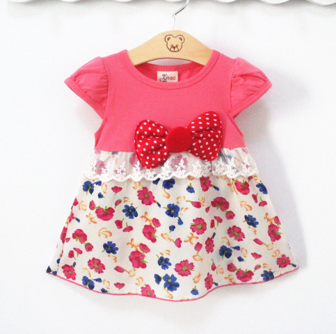 Free shipping new Fashion Girls Dresses Dot Sundress summer style bowknot clothing Casual Baby Children Clothes(China (Mainland))