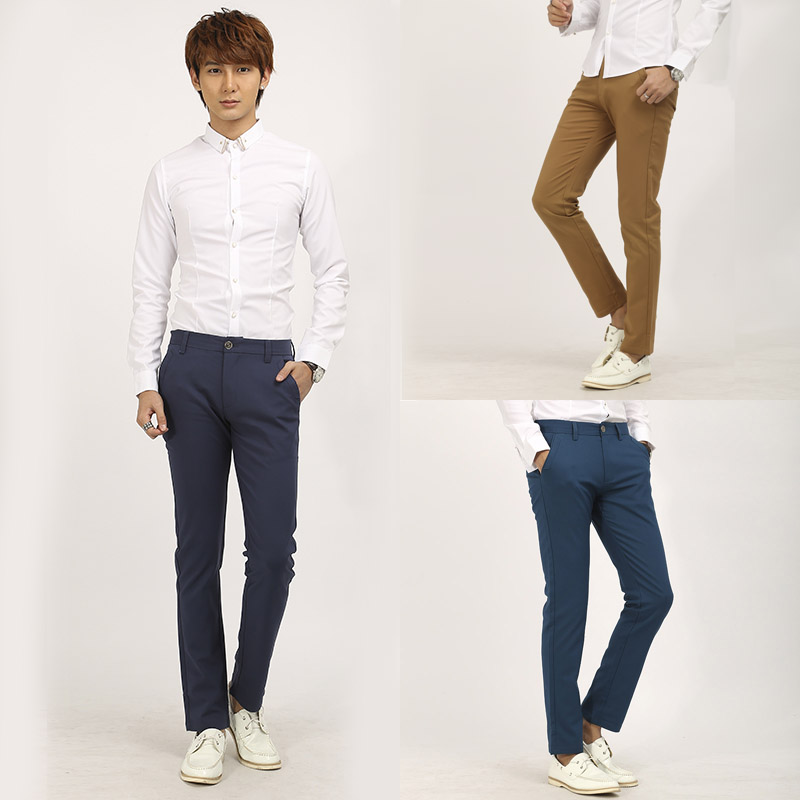 [J.C]New 2015 Men Skinny Cotton Trousers Slim Fit Tatical ...