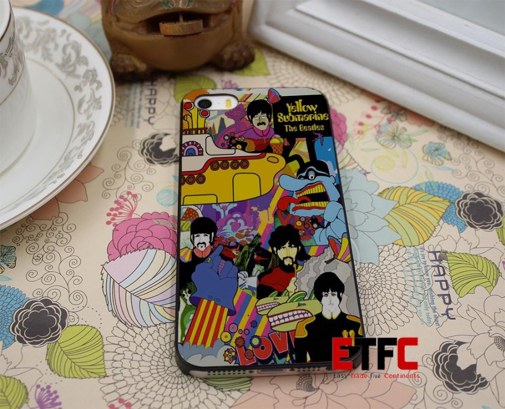 ETFC-45 beatles poster THE BEATLES YELLOW SUBMARINE Design Hard Black Skin Case Cover for iPhone 4 4s 4g 5 5s 5g