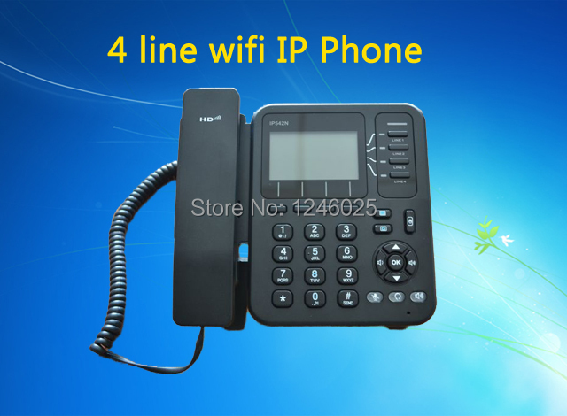 Free shipping Wifi voip phone, 4 line ip phone with RJ45, Skype sip phone Wifi ip telefone(China (Mainland))