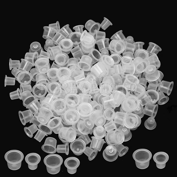 New 200 Pcs Plastic Tattoo Ink Pigment Cups Holder Medium & Small 100 Each