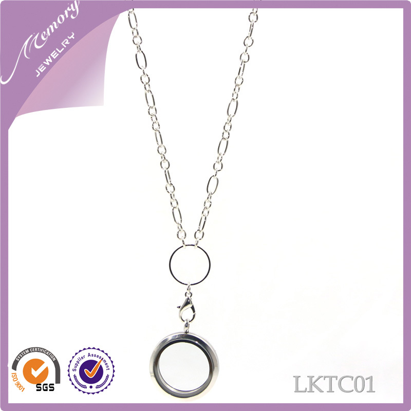 Free shipping 24.5 inch high quality 2014 most popular silver necklace floating locket chains necklace for locket(China (Mainland))