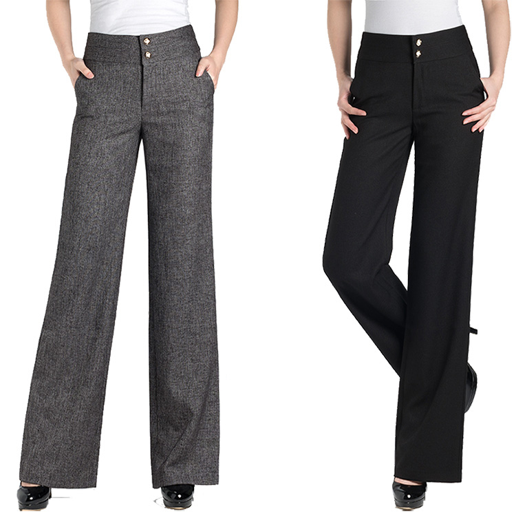 Autumn Winter Casual Formal Women Pants Vintage High Waist Wide Leg Trousers Fashion Pantalon ...