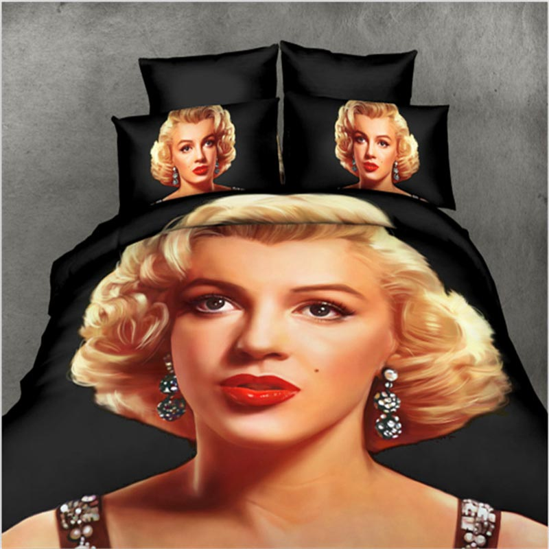 marilyn monroe 3D bedding sets 4pc queen size ployester cotton bed sheets bed set home textile duvet cover set quilt cover(China (Mainland))
