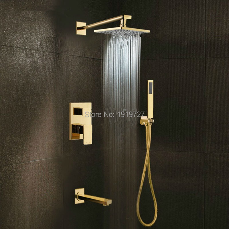 Bath And Shower Taps gold brass 8″ rainfall shower head widespread waterfall tub mixer