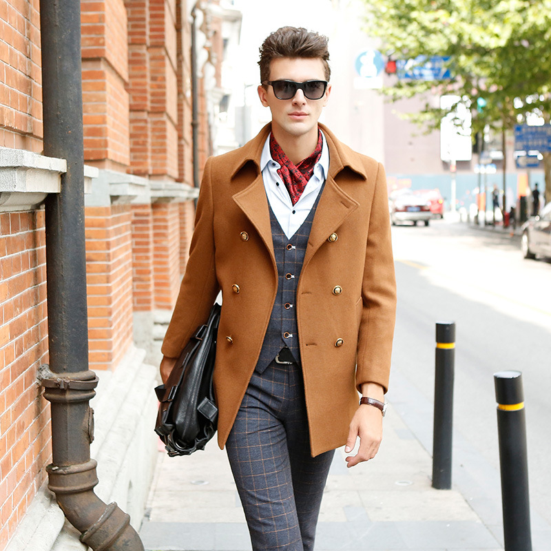 Khaki Wool Solid Color Men Blends Doubles Breasted Fitted Man Pea Coats 2017 Winter Black Fashion Brand Hombre Jackets M-XXXL