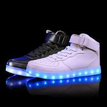 Светодиодные светящиеся кроссовки девушки парни случайные дети shoes high светящийся с зарядки загорается моделирование подошва для детей неон корзина(China (Mainland))