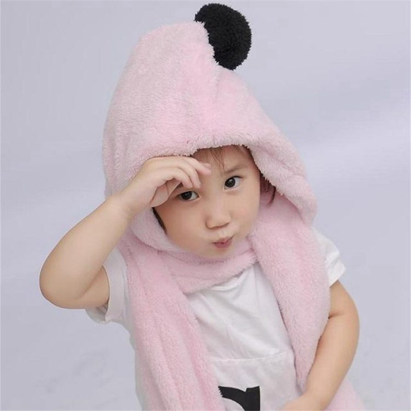 New autumn and winter children 's Boys and girls Sets ear protector fabric warmer Pink gloves scarf hat Plush solid