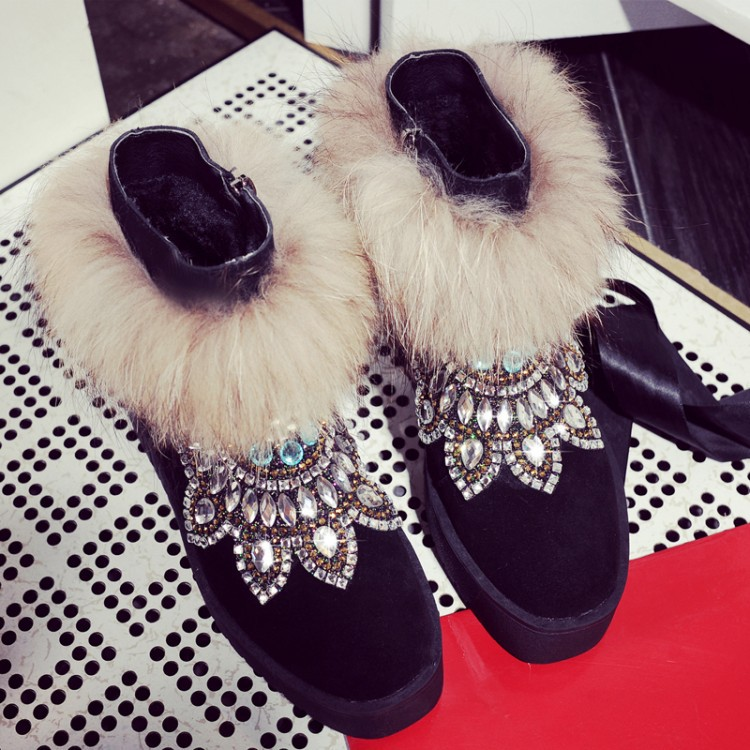 New Winter Women's Boots Thickening Warm Snow Boots Height Increasing Short Boots Rhinestone Fur Shoes Woman Ankle Boots C49