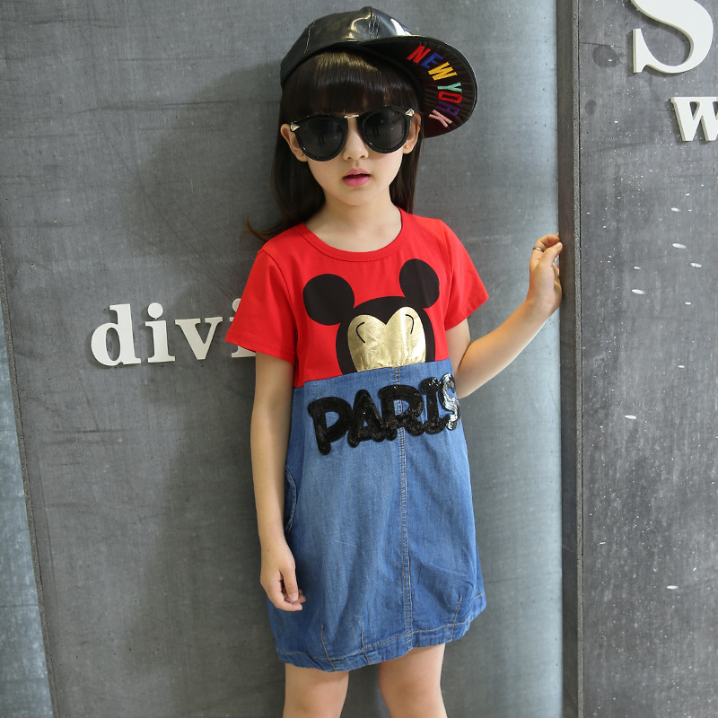 Europe And The United States Children's Summer Wear Girl Dress Cuhk Mouse Head High Quality Children's Wear(China (Mainland))