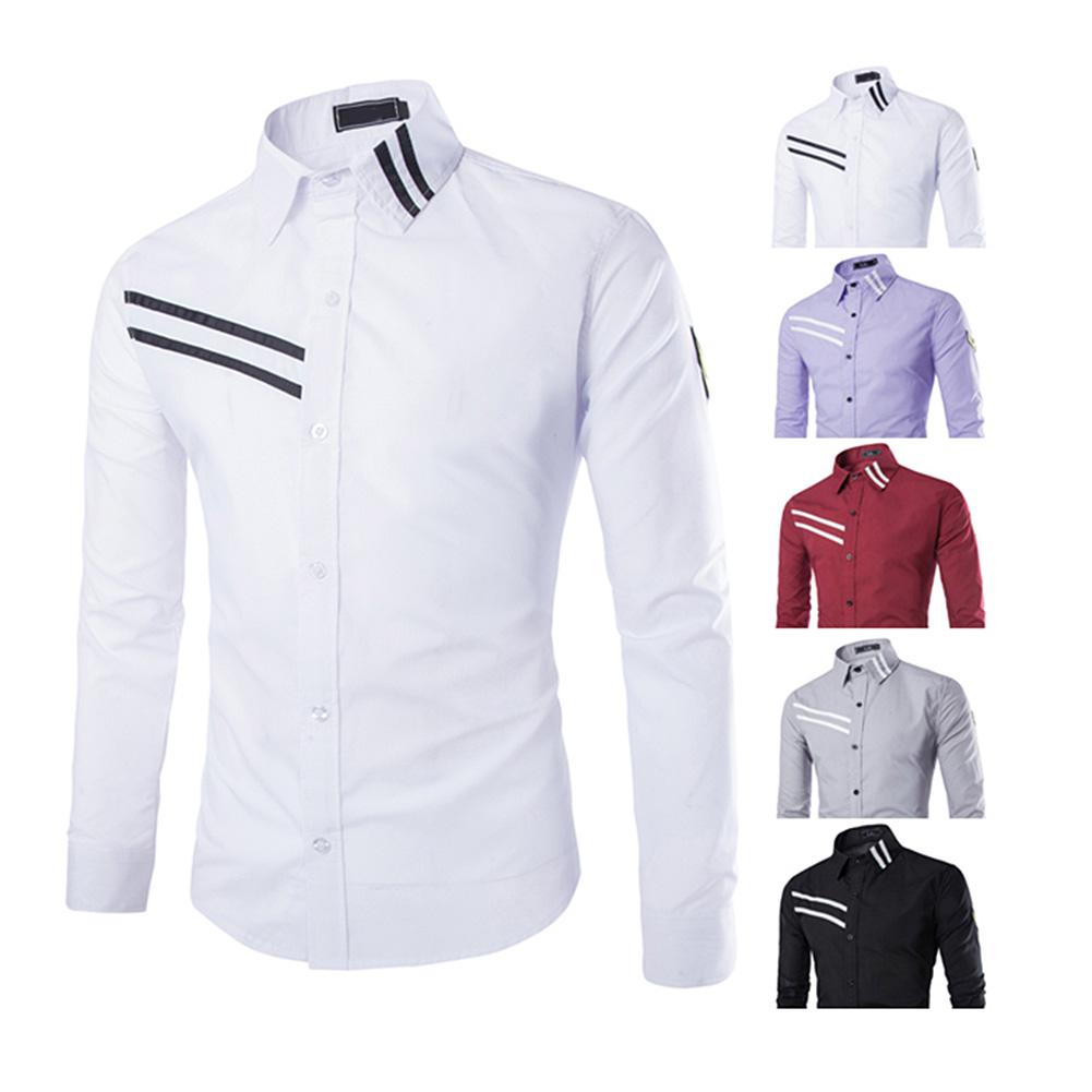 Korean Style Stripe Pattern Shirt Leisure Long Sleeves Shirt Male Leisure Long-Sleeve Shirts HB88(China (Mainland))